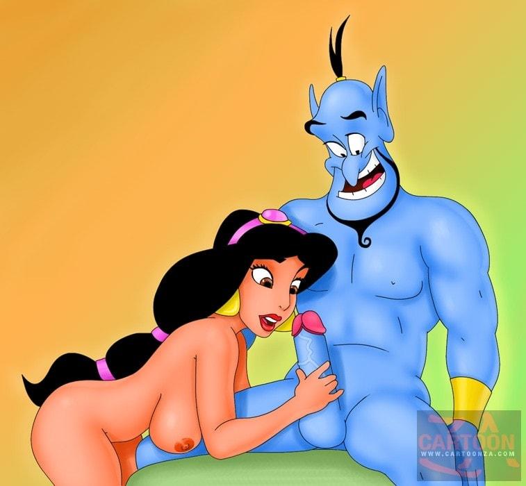 Jasmine Rubbing Genie's Blue Cock