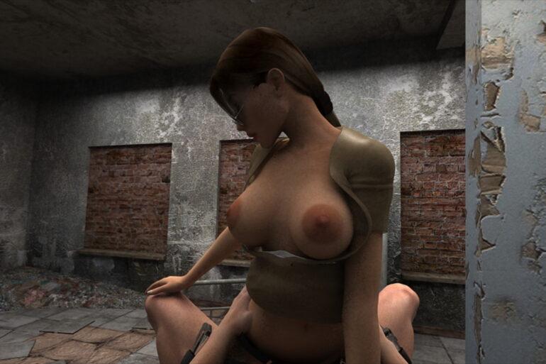 Lara Croft in a 3D Hentai Video Riding a Dick