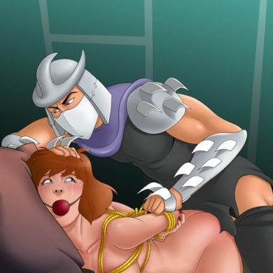 Shredder Shredding April O'Neil's Tight Pussy