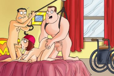 Meg Griffin & Glenn Quagmire in a 3some with Joe Swanson