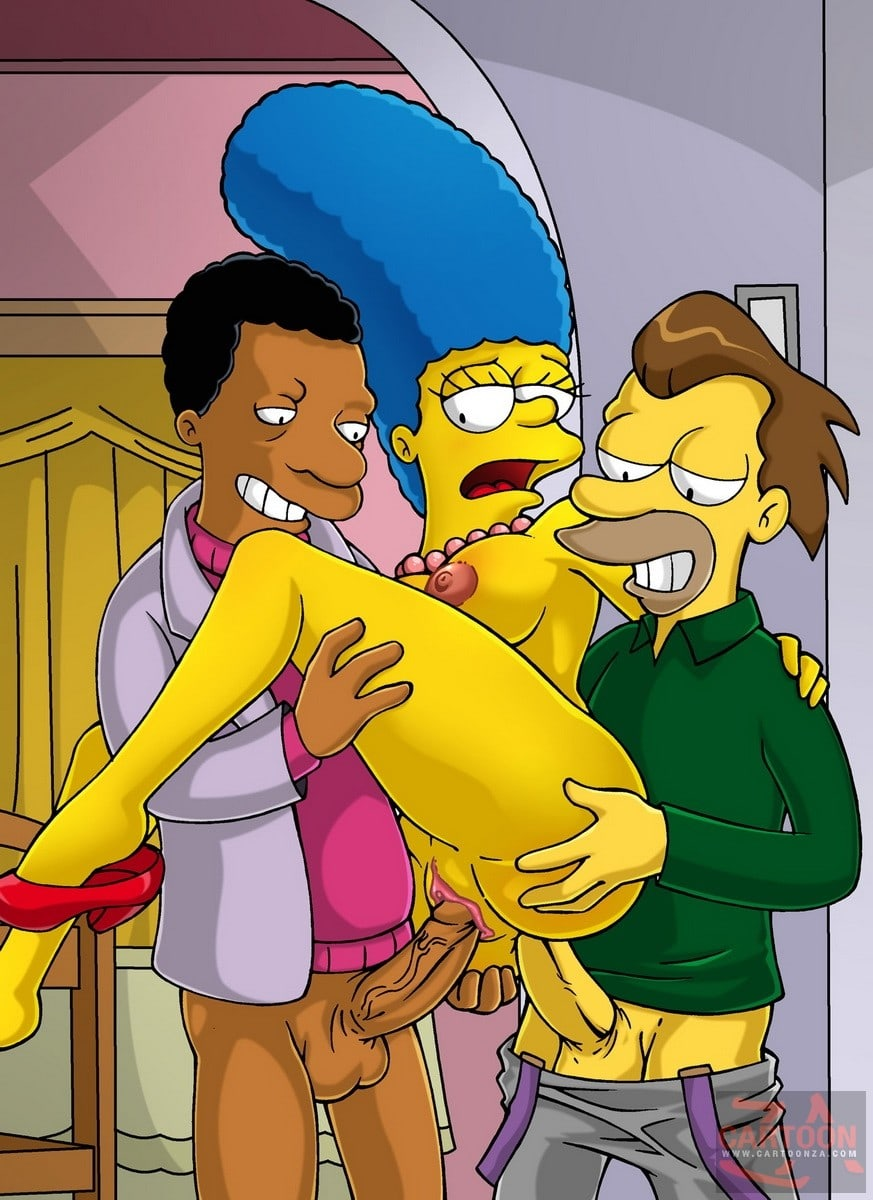 Marge Simpson Fucked by Two Studs
